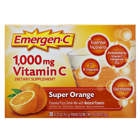 Emergen-C 1000 mg Vitamin C Dietary Supplement Fizzy Drink Mix Orange - 0.31 oz.