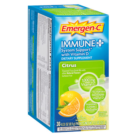 Emergen-C Immune+ System Support Fizzy Drink Mix Citrus - 30 ea