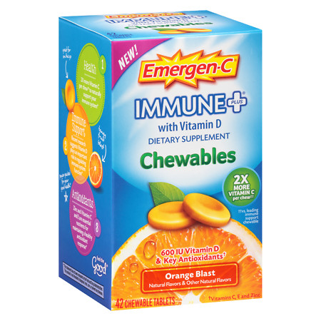 Emergen-C Immune+ with Vitamin D Chewables Orange Blast - 42 ea