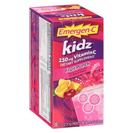 Emergen-C Kidz 250 mg Vitamin C Fizzy Drink Mix Fruit Punch - 30 ea