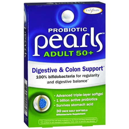 Enzymatic Therapy Probiotic Pearls Adult 50+ Digestive & Colon Support, Softgels - 30 ea