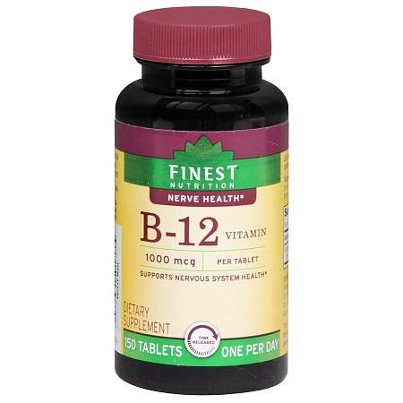 Finest Nutrition B-12 Vitamin 1000 mcg Dietary Supplement Tablets Time Released - 150 ea