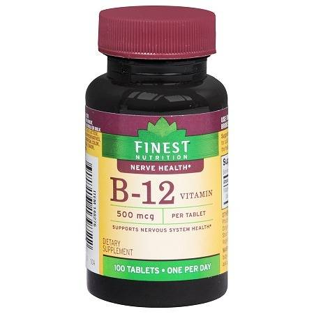 Finest Nutrition B-12 Vitamin 500 mcg Dietary Supplement Tablets - 100 ea