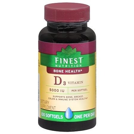 Finest Nutrition D3 Vitamin 125 MCQ Dietary Supplement Softgels - 100 ea