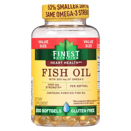 Finest Nutrition Fish Oil 1000 mg Softgels - 200 ea