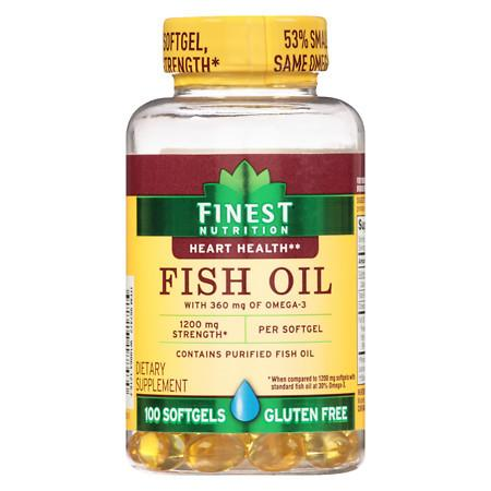 Finest Nutrition Fish Oil 1200 mg Softgels - 100 ea