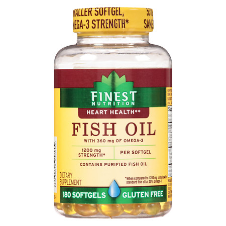Finest Nutrition Fish Oil 1200 mg Softgels - 180 ea