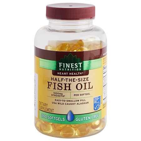 Finest Nutrition Half-the-Size Fish Oil 1000 mg, Softgels - 200 ea
