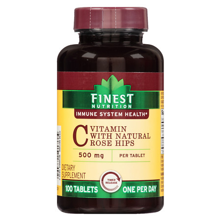 Finest Nutrition Vitamin C 500 mg With Natural Rose Hips Tablets - 100 ea