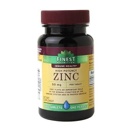 Finest Nutrition Zinc 50mg, Tablets - 100 ea
