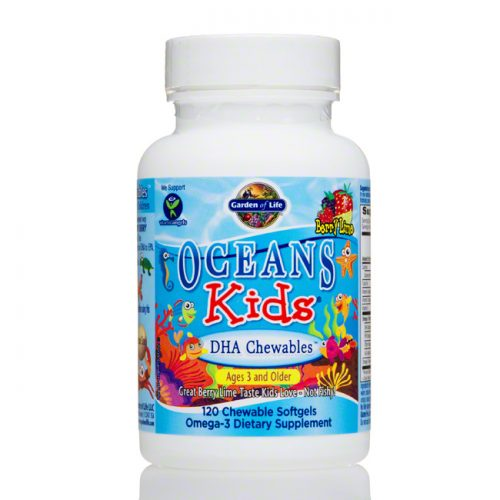 Garden of Life Oceans Kids DHA Chewables, Berry Lime, 120 ct