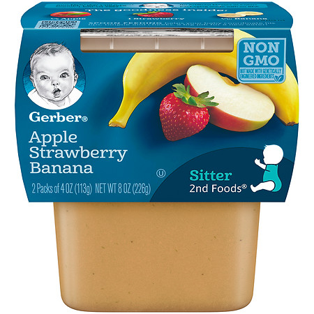 Gerber 2F Puree Tub Apple Strawberry Banana - 4 oz.