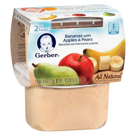 Gerber 2F Puree Tub Bananas with Apples & Pears - 4 oz.