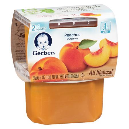 Gerber 2F Puree Tub Peaches - 4 oz.