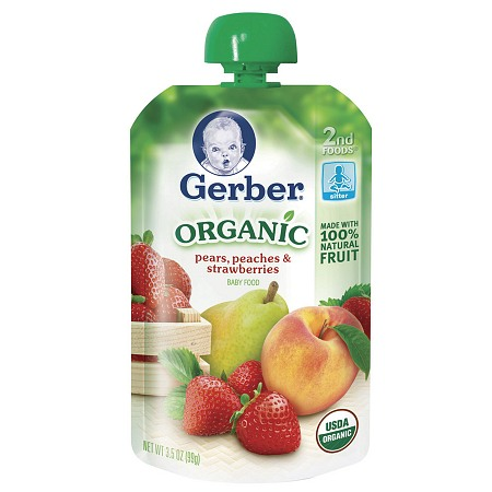 Gerber 2nd Foods Organic Baby Food Pouch Pears, Peaches & Strawberries - 3.5 oz.