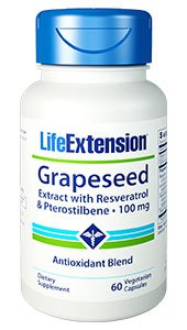 Grapeseed Extract with Resveratrol & Pterostilbene, 100 mg, 60 vegetarian capsules