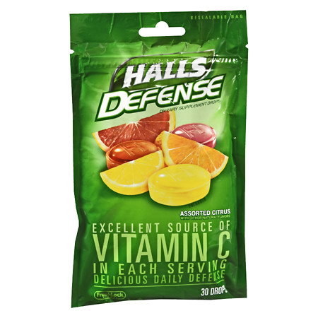 Halls Defense Vitamin C Supplement Drops Assorted Citrus - 30 ea