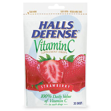 Halls Defense Vitamin C Supplement Drops Strawberry - 30 ea