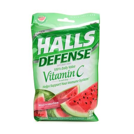 Halls Defense Vitamin C Supplement Drops Watermelon - 30 ea
