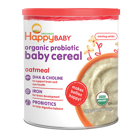 Happy Baby Organic Probiotic Baby Cereal: Oatmeal - 7 oz.
