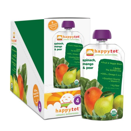Happy Tots Organic Superfoods Spinach, Mango & Pear - 4.22 oz.