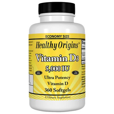 Healthy Origins Vitamin D3, 5000 IU, Softgels - 360 ea