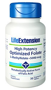 High Potency Optimized Folate, 5000 mcg, 30 vegetarian tablets