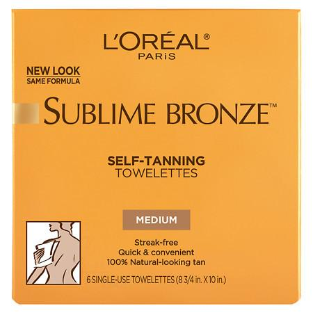 L'Oreal Paris Sublime Bronze Self-Tanning Towelettes for Body - 6 ea