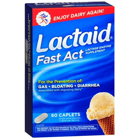 Lactaid Fast Act Lactase Enzyme Supplement, Caplets Vanilla - 60 ea