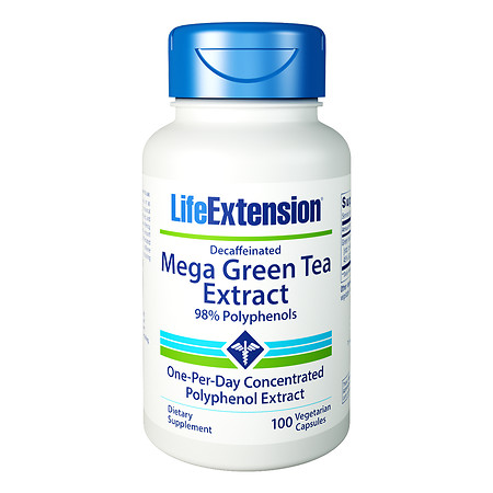 Life Extension Decaffeinated Mega Green Tea Extract, Vegetarian Capsules - 100 ea