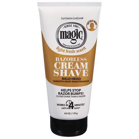 Magic Shave Razorless Cream Shave, Bald Head Smooth Head Maintenance Light Fresh Scent - 6 oz.