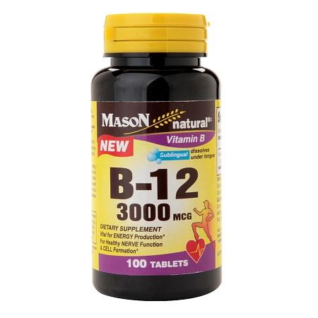 Mason Natural B-12 3000 mcg, Tablets - 100 ea