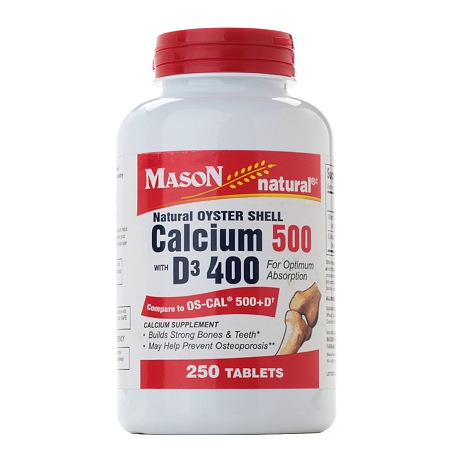 Mason Natural Natural Oyster Shell Calcium 500 with D3 400, Tablets - 250 ea