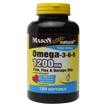 Mason Natural Omega-3-6-9 1200mg Fish, Flax & Borage Oils, Softgels - 120 ea