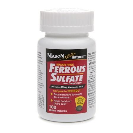 Mason Natural Sugar Free Ferrous Sulfate, Green Tablets - 100 ea