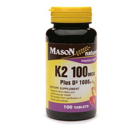 Mason Natural Vitamin K2 100mcg Plus D3 1000 IU, Tablets - 100 ea