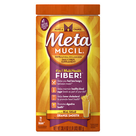 Metamucil MultiHealth Daily Fiber Supplement Powder Orange Smooth - 30.4 oz.