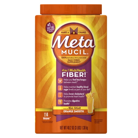 Metamucil MultiHealth Fiber Texture Powder Supplement Orange Smooth - 48.2 oz.