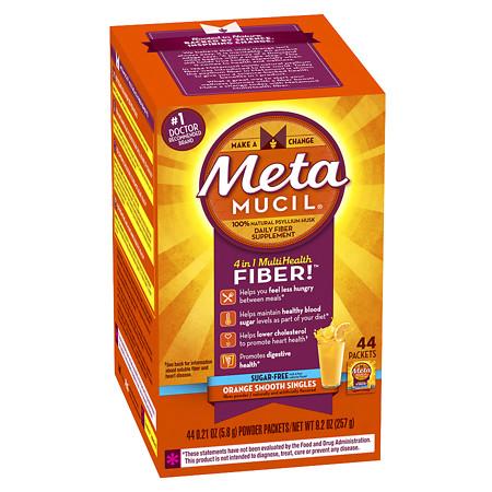 Metamucil Psyllium Daily Fiber Supplement Powder Packets Orange Smooth - 0.21 oz.