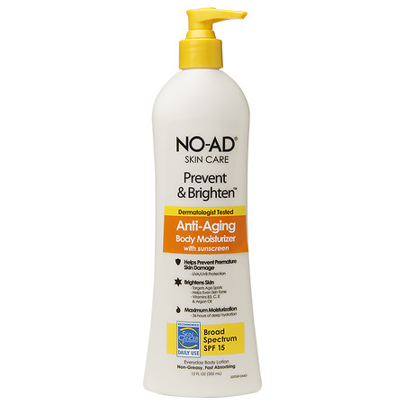 NO-AD Prevent & Brighten Anti-Aging Body Moisturizer SPF 15, Lotion - 12 fl oz