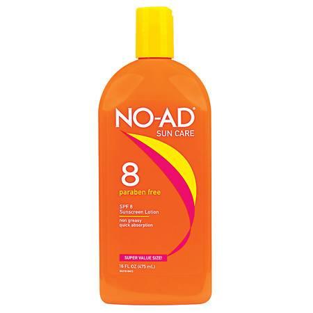 NO-AD Protective Tanning Lotion, SPF 8 - 16 fl oz