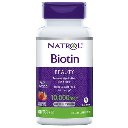 Natrol Biotin 10,000 mcg Fast Dissolve, Tablets Strawberry - 60 ea