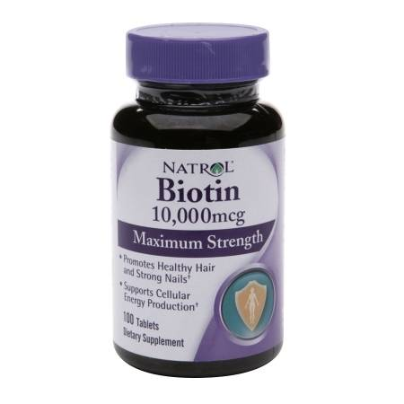 Natrol Biotin Maximum Strength 10,000 mcg Dietary Supplement Tablets - 100 ea