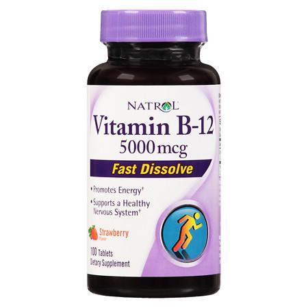 Natrol Vitamin B-12 5000mcg Fast Dissolve, Tablets Strawberry - 100 ea