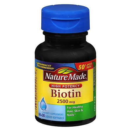 Nature Made Biotin 2500 mcg Dietary Supplement Liquid Softgels - 90 ea