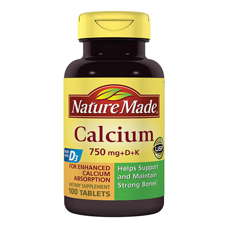 Nature Made Calcium 750 mg + D + K Dietary Supplement Tablets - 100 ea