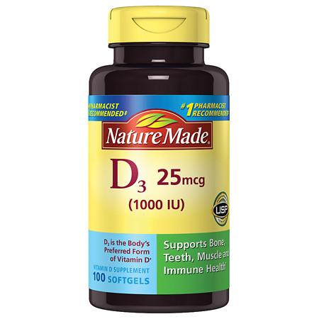 Nature Made D3 1000 I.U. Dietary Supplement Liquid Softgels - 100 ea