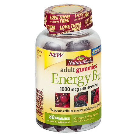 Nature Made Energy B12 1000mcg Adult Gummies Cherry & Wild Berries Cherry & Berries - 80 ea