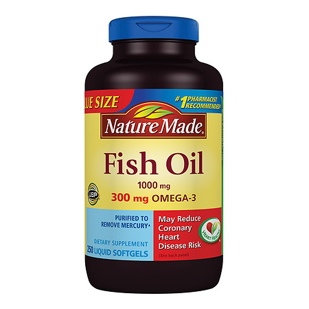 Nature Made Fish Oil 1000 mg Dietary Supplement Liquid Softgels - 250 ea