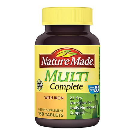 Nature Made Multi Complete With Iron Dietary Supplement Tablets - 130 ea